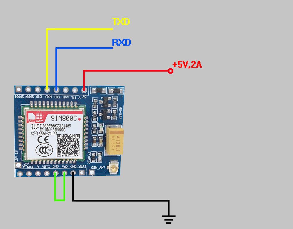 Схема подключения SIM800C